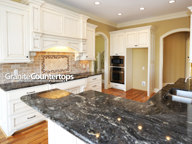 Black White Granite Countertops : granite countertops black white cabinets Granite Countertops